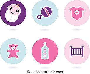 set, icone, isolato, accessori, bambino, bianco