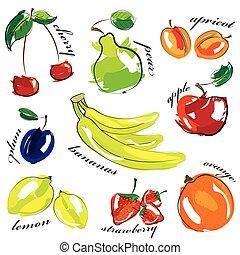 set, icone, isolato, frutta, fondo., vettore, bianco