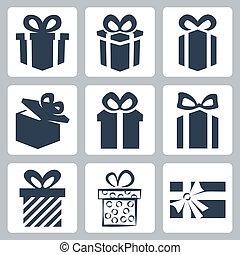 set, icone, isolato, regalo, vettore, presente
