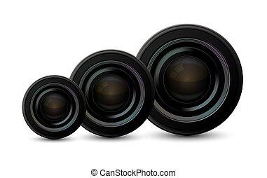 set, icone, macchina fotografica, moderno, fondo., vettore, bianco
