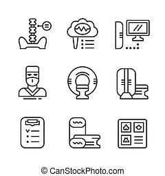 set, icone, magnetico, imaging, risonanza, linea