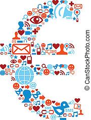 set, icone, media, simbolo, sociale, euro