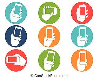 set, icone, mobile, bottoni, telefono, tenere mani