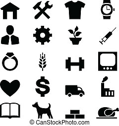 set, icone, mobile, web, altro, disegno