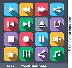 set, icone, multimedia, lungo, 1, vettore, uggia