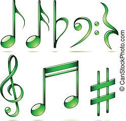 set, icone, note, isolato, fondo., vettore, musica, bianco