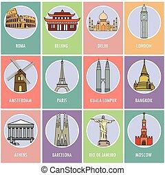 set, icone, o, cards.-, famoso, attrazioni, di, il, world.
