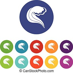set, icone, onda, mare, oceano, o