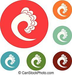 set, icone, onda, vettore, cerchio, oceano