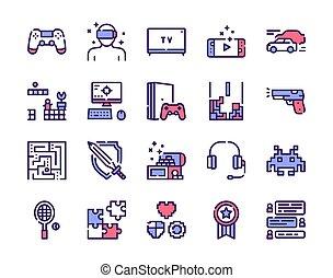 set, icone, ozio, colorito, lineare, attività
