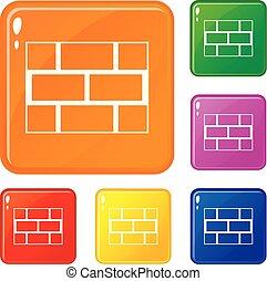 set, icone, parete, concreto, vettore, blocco, colorare