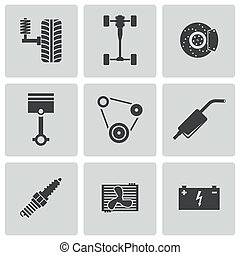 set, icone, parti macchina, vettore, nero