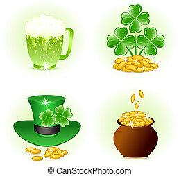 set, icone, patrick, illustrazione, quattro, vettore, lucido, giorno, celebrazione