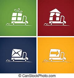 set, icone, per, servizio consegna