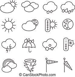 set, icone, previsione, simboli, tempo, linea