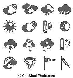 set, icone, previsione, simboli, tempo, nero