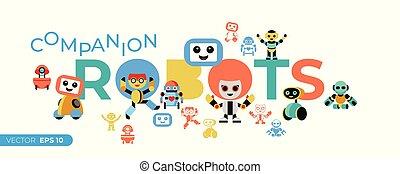 set, icone, robot, compagno, vettore, digitale
