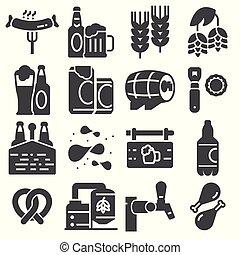 set, icone, semplice, relativo, birra, vettore