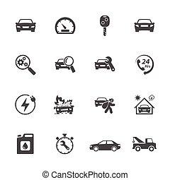 set, icone, semplice, relativo, vettore, automobile., disegno, icona