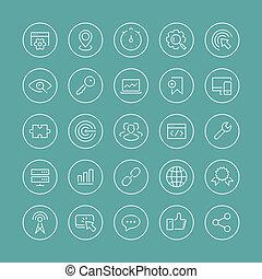 set, icone, seo, magro, servizi, linea