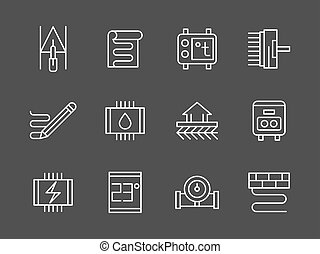 set, icone, sistema, riscaldamento, vettore, linea bianca