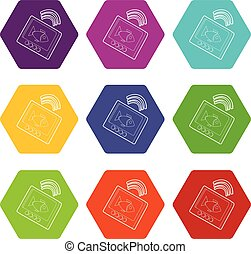 set, icone, sounder, eco, vettore, 9