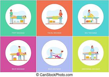 set, icone, stesso, vettore, facciale, massaggio plantare