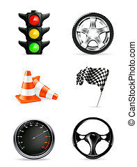 set, icone, strada