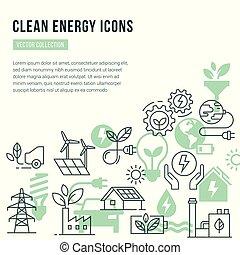 set, icone, testo, energia, isolato, tema, vettore, posto, sagoma, verde