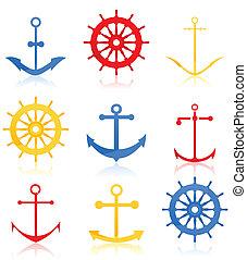 set, icone, theme., illustrazione, vettore, mare