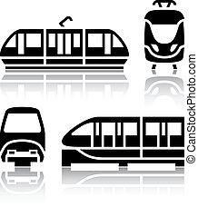 set, icone, tram, -, monorotaia, trasporto