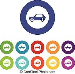 set, icone, veicoli, segno, soltanto, motore, conceduto, strada