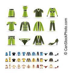 set, icone, -, vettore, abbigliamento, icona