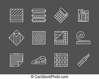 set, icone, vettore, bianco, linoleum, linea
