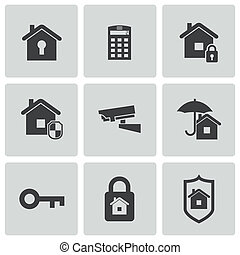 set, icone, vettore, nero, sicurezza casa