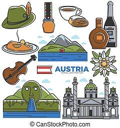 set, icone, viaggiare, famoso, austria, vettore, turismo, limiti, sightseeing