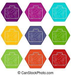 set, icone, viaggiare, valigia, 9, adesivi
