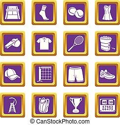 set, icone, viola, tennis, vettore, quadrato