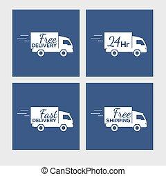 set, iconen, auto, aflevering, plein, achtergrond