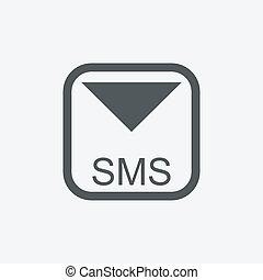 set, iconen, beweeglijk, tekst, sms, post, boodschap