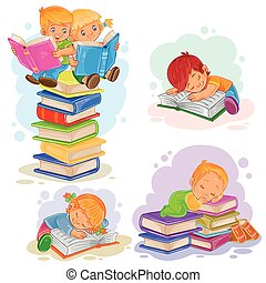 set, iconen, boek, kleine, lezende , kinderen