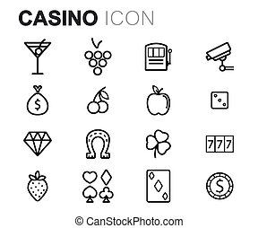 set, iconen, casino, vector, black , lijn