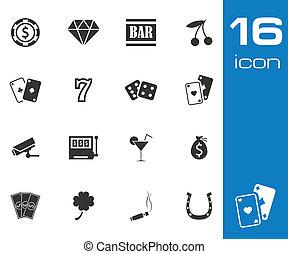 set, iconen, casino, vector, zwarte achtergrond, witte