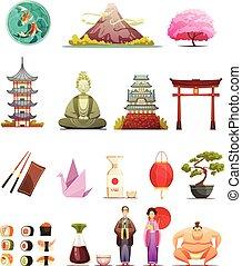 set, iconen, cultuur, retro, japan, spotprent