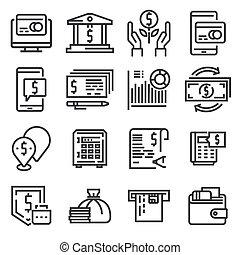 set, iconen, eenvoudig, geld, verwant, lijn