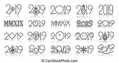 set, iconen, eenvoudig, vector, black , jaar, 2019, lijn