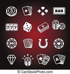 set, iconen, eenvoudig, verwant, vector, geluksspelletjes