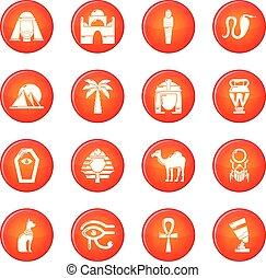 set, iconen, egypte, reizen, vector, rood
