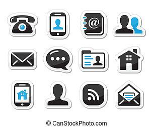 set, iconen, etiketten, -, contact, mobil
