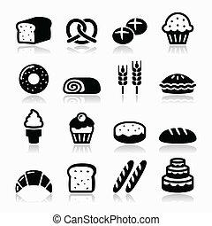 set, iconen, -, gebakje, bakkerij, brood
